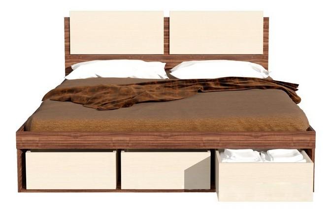 Кровать двуспальная с ящиками для хранения